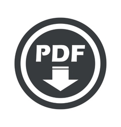 Round black pdf download sign vector image