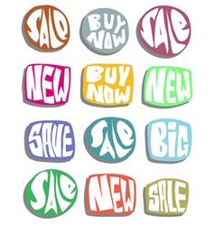 Sale slogan button in multiple color over white vector