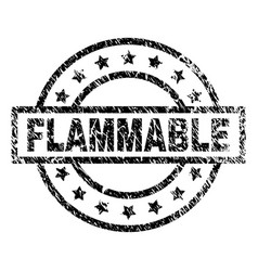 Scratched textured flammable stamp seal vector