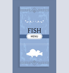 seafood menu with shadow silhouette fish vector image