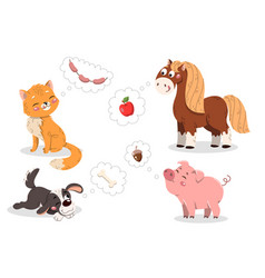 set cute cartoon pets vector image