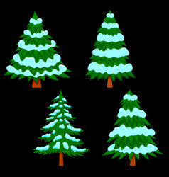 set pine tree with snow in cartoon style vector image