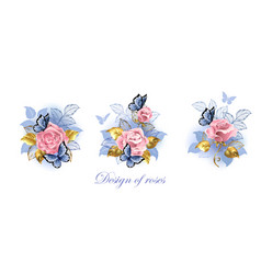 Set pink roses with butterflies vector