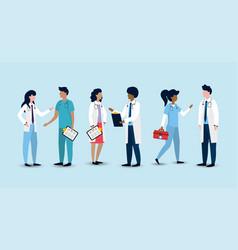 Set women and men professional doctors vector