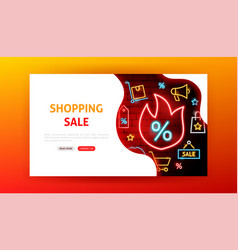 Shopping sale neon landing page vector