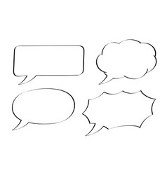 speech bubbles hand drawn sketch vector image