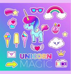 stickers set with unicorn rainbow star comet vector image