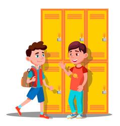 Teenagers near lockers in school isolated vector