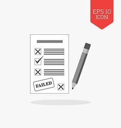 Test failed concept icon Flat design gray color vector