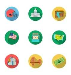 USA country set icons in flat style Big vector