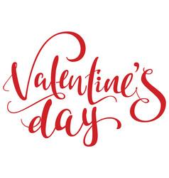 Valentines day red handwritten ornate text vector