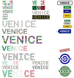 Venice text design set vector