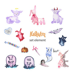 watercolor magic set elements for halloween vector image
