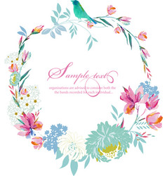 Watercolor round frame flowers vector