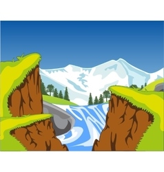 Waterfall in canyon vector image