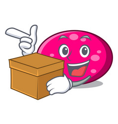 with box ellipse character cartoon style vector image