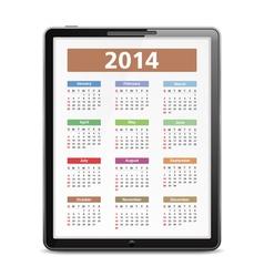2014 Calendar in Tablet PC vector image vector image