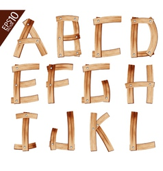 Old Grunge Wooden Alphabet vector image