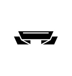 ribbon 2 corners icon black vector image