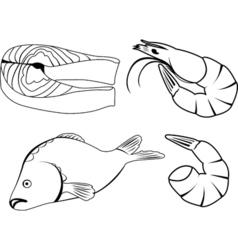 set of icons with sea food vector image vector image