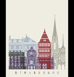 Strasbourg skyline poster vector image vector image