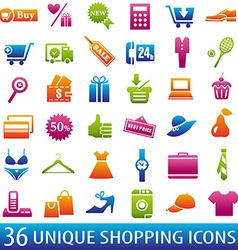 ColorShoppingIcons vector image vector image