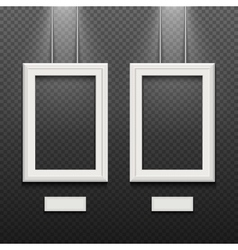 Empty white poster frames isolated on transparent vector image vector image