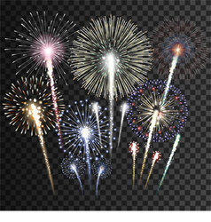 Set of isolated fireworks vector image vector image