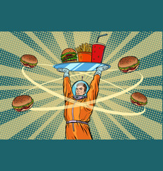 astronaut with a tray of fast food vector image vector image