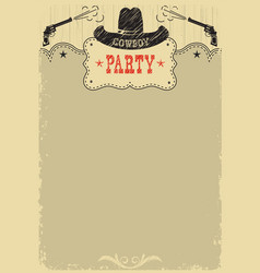 cowboy party background with western decoration vector image vector image