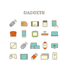 different gadget thin line color icons set vector image