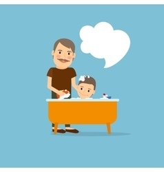 Father washing baby vector image