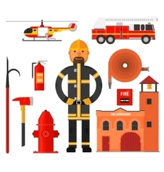 Firefighting character Flat style Elements for vector image