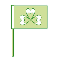green flag with clover symbol vector image vector image