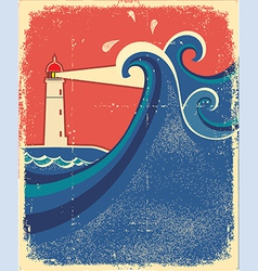 Lighthouse posterseascape background vector