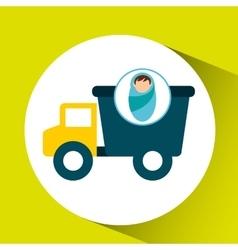Boy newborn wrap truck toy design vector
