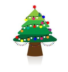 christmas tree with christmas lights vector image