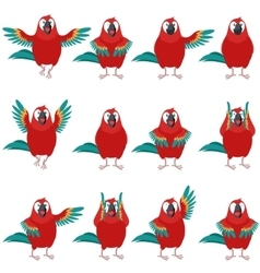 Flat set of Macaw icons vector image