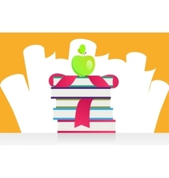 Graduation apple and books vector image