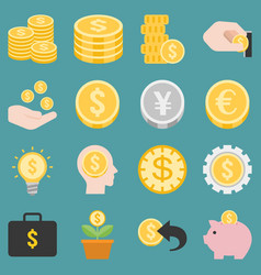 money and coins icons set vector image vector image