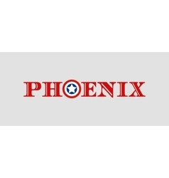 Phoenix city name with flag colors styled letter O vector image vector image