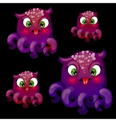 Set of four cute playful purple octopus vector image vector image