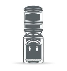 Water bottle cooler monochrome vector