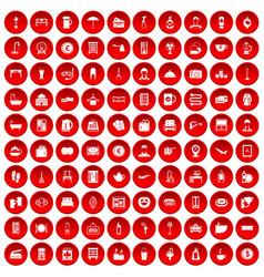 100 inn icons set red vector