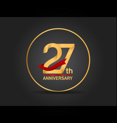 27 anniversary design golden color with ring vector