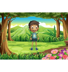 A smiling thin boy at the forest vector image