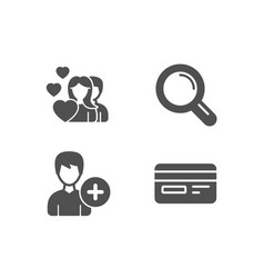 add person couple and research icons credit card vector image