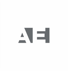 Ae logo monogram with negative space style design vector