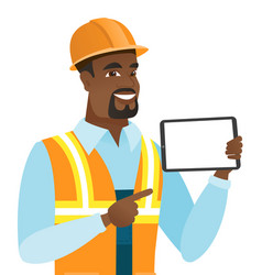 African-american builder holding tablet computer vector