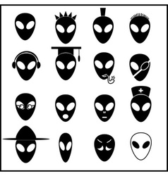 Alien icons set eps10 vector